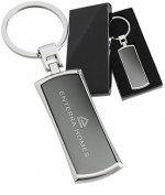 Black Series Curved Rectangle Promotional Keychains