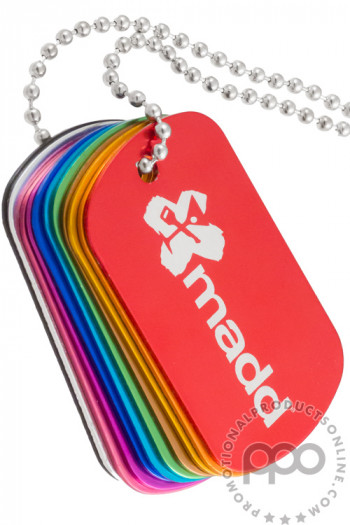 Customizable Aluminum Engraved Dog Tags Shown in All Colors