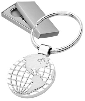Globe in Two Tone Engraved Keychain