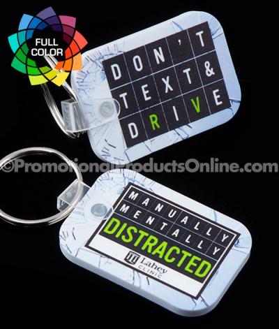 Full Color Short Rectangle Vinyl Keychains
