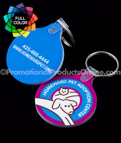 Full Color Round with Tab Vinyl Keychains